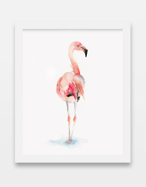 "Flamingo ""Almost Pink"" - Watercolor Art Print"