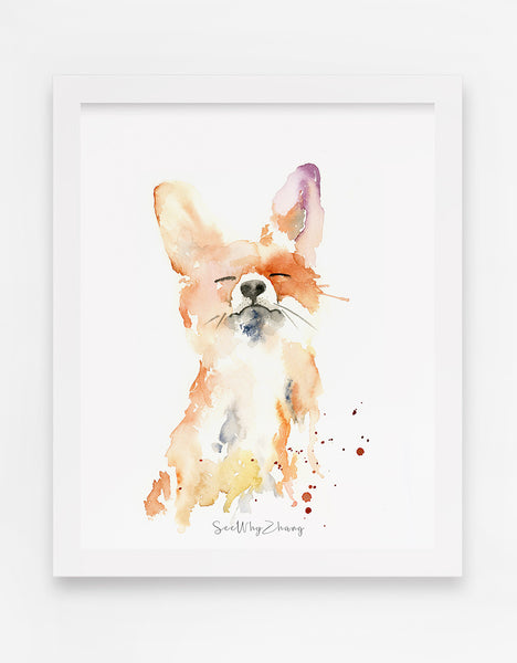 Proud Fox Watercolor Art Print