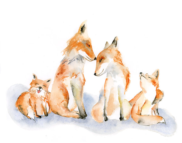 Fox Family of 4 Watercolor Art Print