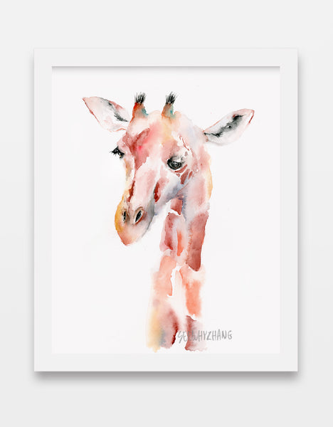 """Ginger"" the Giraffe Portrait - Watercolor Art Print"