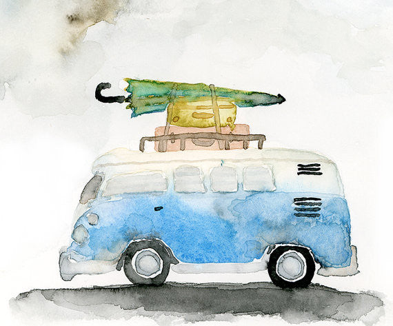 VW Bus Watercolor Art Print