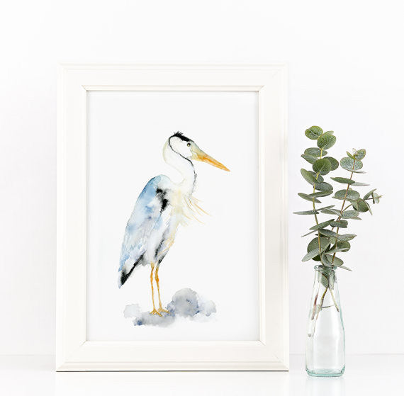 Blue Heron Watercolor Art Print