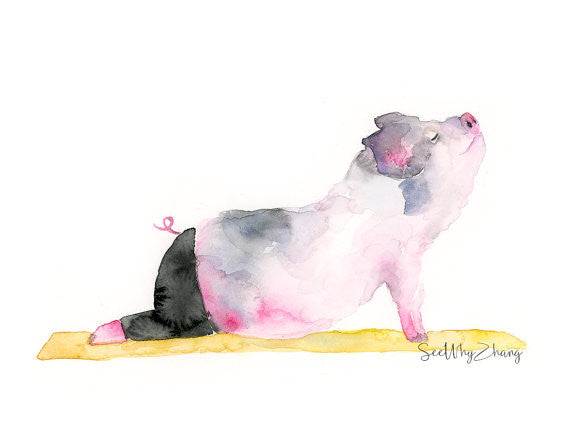 Pig Doing Yoga - Set of 3 Watercolor Art Prints