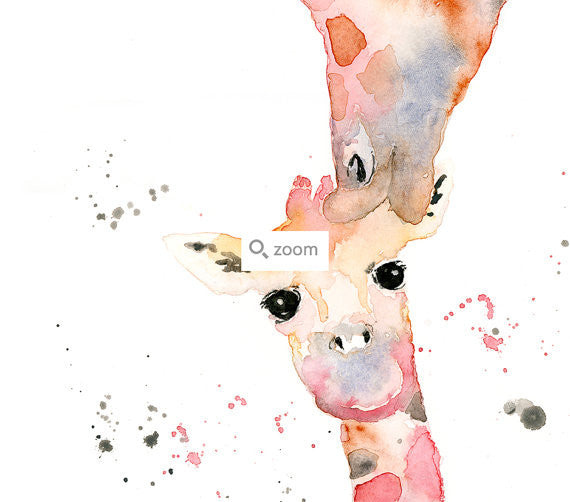 LIMITED EDITION - Giraffe Mother and Baby Watercolor Fine Art Print
