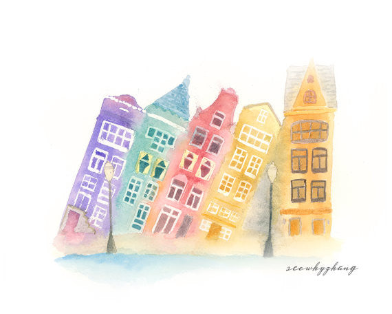 Amsterdam Slanted Houses Watercolor Art Print