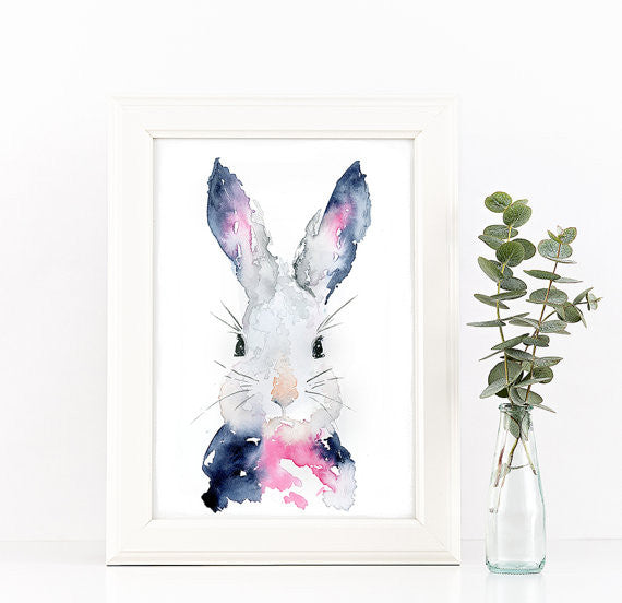 Bunny Watercolor Art Print