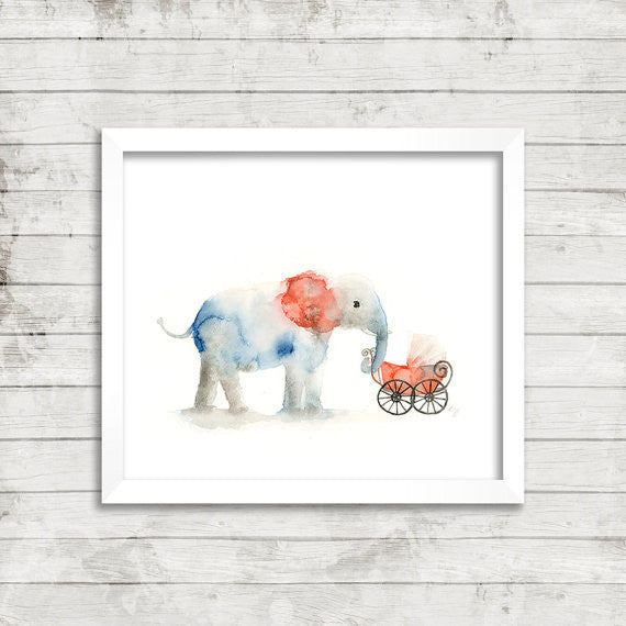 Elephant w/ Baby Carriage Watercolor Art Print