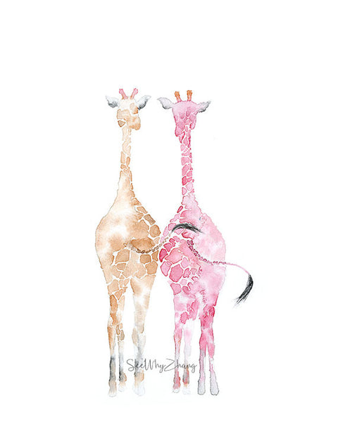 Giraffe Friends Art Print
