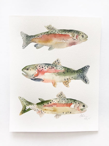 "Rainbow Trout Fish Original Watercolor Painting - 8""x10"""