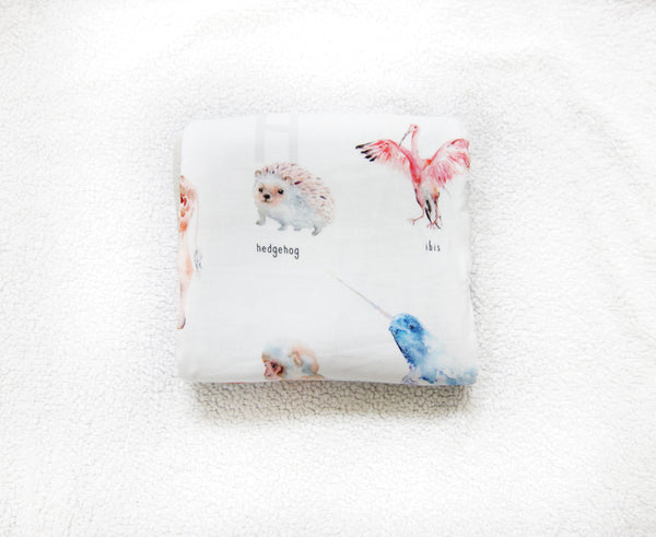 alphabet animals baby blanket made of 100% cotton muslin