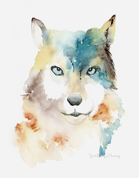 Wild Wolf Watercolor Art Print