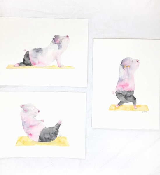 pig doing yoga watercolor art print by seewhyzhang