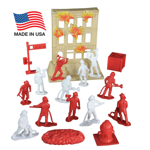 TimMee Fire Rescue Bucket: 33pc of 2.5in Firemen & Accessories - Made in USA!