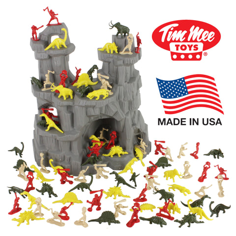 TimMee DINOSAUR MOUNTAIN Playset: 97pc Dinos vs Cavemen Figures - Made in USA