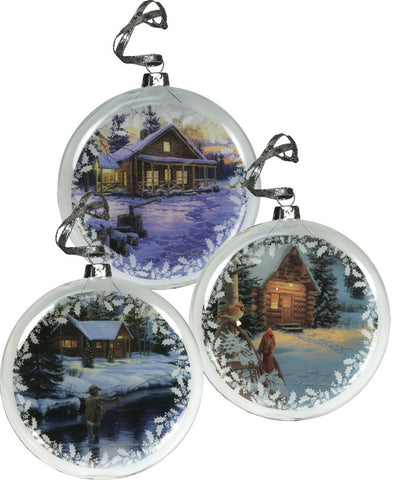 Cabin 3 Pack Glass Ornaments