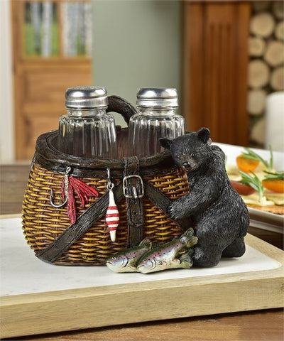 Bear & Fishing Creel Salt & Pepper Shakers