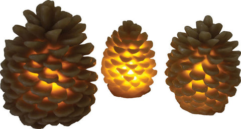 3 Pc. Pine Cone Candle Set