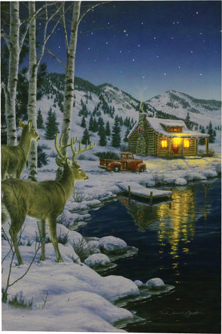 """CABIN DEER"" LED Wall Art - 24"" x 16"""