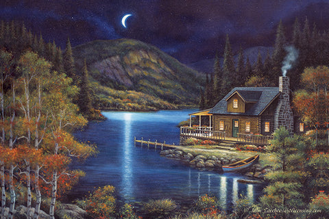 """Moonlit Cabin"" LED Wall Art - 24"" x 16"""