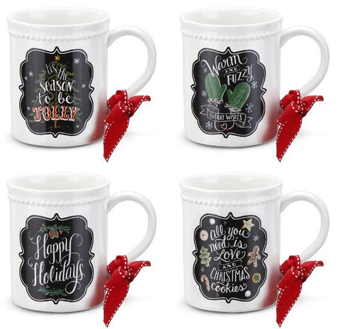Holiday Chalkboard Art Mugs - 4 Assorted