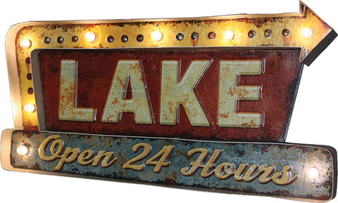 """LAKE"" Metal Bar Sign"