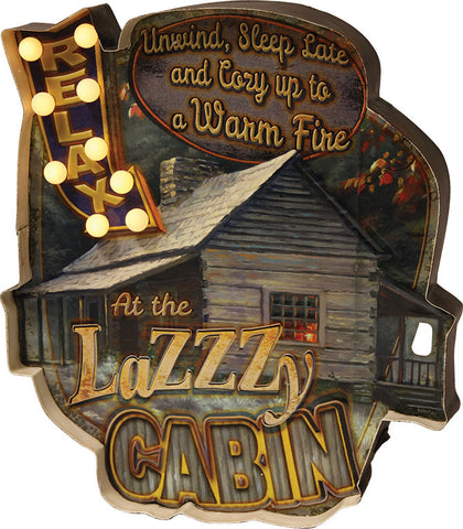 """LAZZZY CABIN"" Metal Bar Sign"
