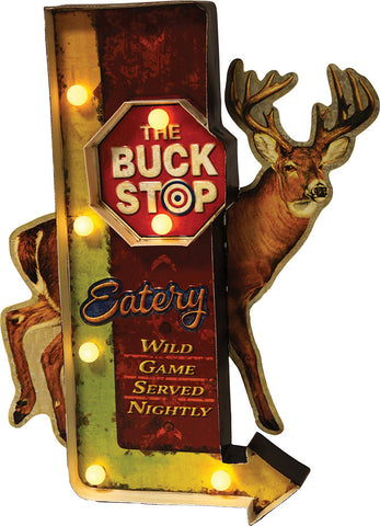 """BUCK STOP"" Metal Sign"