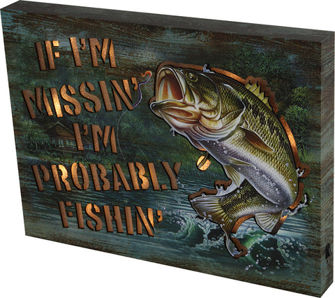 """IF I'M MISSING"" Metal Lighted Wall Sign"