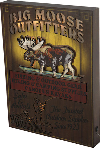 """BIG MOOSE OUTFITTERS"" Lighted Box Sign"