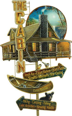 """LIFE AT THE CABIN"" Collage Tin Sign"