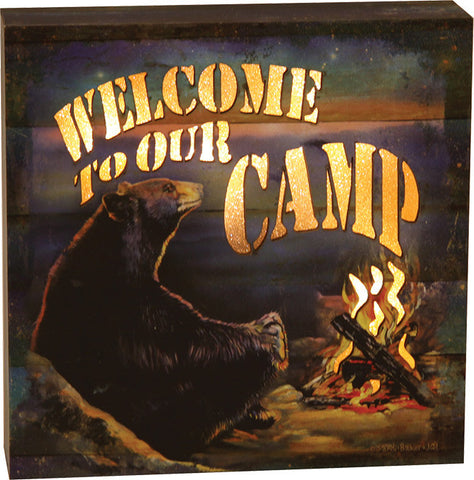 """Welcome to our Camp"" LED Box -  6"" x 6"""