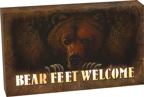 """Bear Feet Welcome"" 8""x 5"" LED Box"