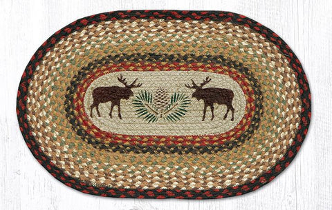 Moose/Pinecone braided oval placemat