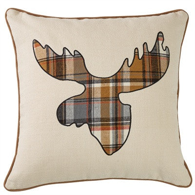 "Moose plaid applique 20"" pillow cover"