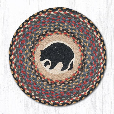 Black Bear braided round placemat