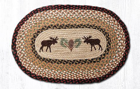 Moose and Pinecone Braided Oval Rug