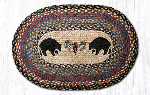Bears and pinecone braided oval rug
