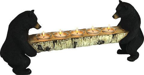 Bears Hold Birch Log Candle