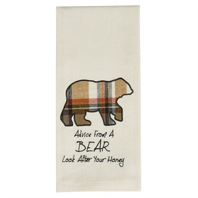 Bear applique dishtowel