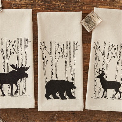 Bear & birch tree printed dishtowel