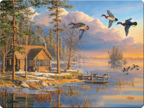 """Spring Arrival"" Cabin & Ducks Scene Cutting Board"