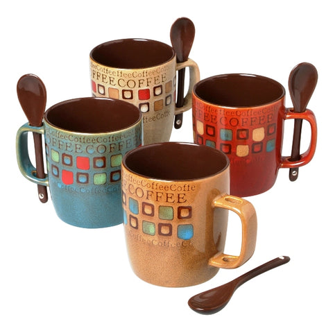 """Cafe Americano"" 8-Piece 13oz Mug and Spoons Set - 4 Assorted Designs"