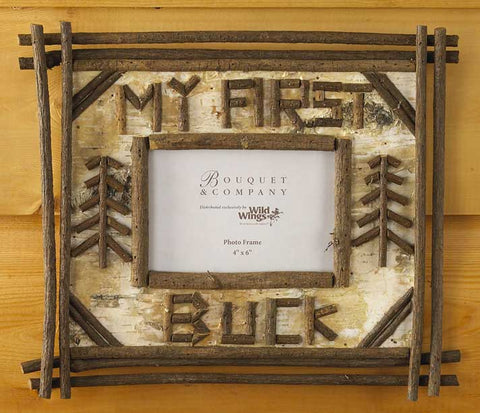 """My First Buck"" Birch and Twig Photo Frame"
