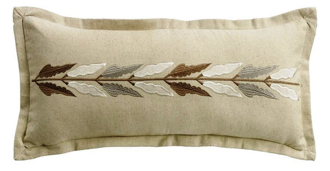 Embroidered Leaves Accent Pillow