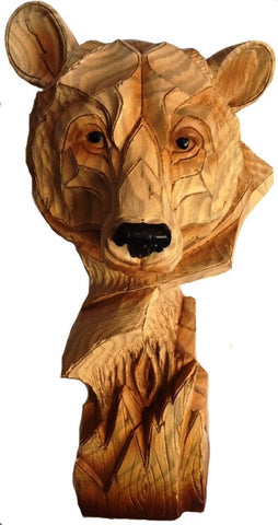 Bear Bust - Wood Like Resin Sculpture