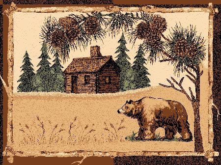 """Bear & Cabin"" Area Rug - Various Sizes"