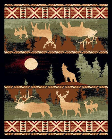 """Elk & Wolf"" Area Rug - Various Sizes"