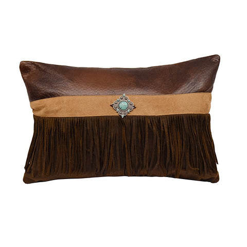 "Faux Suede Accent Pillow w/Concho and Fringe - 12"" X 18"""