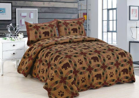 """Black Bear"" Cabin Quilt Set Collection"