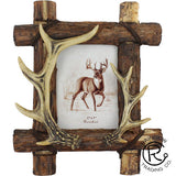 "Antler With Cabin Wood Frame - 5"" x 7"""